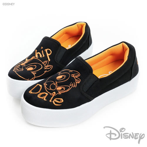 Disney 奇奇蒂蒂 厚底休閒鞋-黑