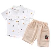 短袖套裝 小熊短袖襯衫 休閒短褲 嬰幼兒套裝 短袖上衣 寶寶童裝 CK1760 好娃娃