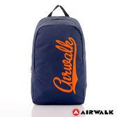AIRWALK - 快樂曲線 撞色LOGO後背包 - 桔字深藍-A311320882