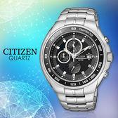 CITIZEN 星辰手錶專賣店 AN4010-57E 男錶 石英錶 不鏽鋼錶殼錶帶 強化耐磨玻璃鏡面 防水100米 計時碼錶