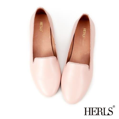 HERLS 平底鞋 鞋匠手作 全真皮 素面樂福鞋-粉紅色