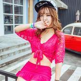 泳衣(三件套)-性感連帽蕾絲純色女比基尼73rz41[時尚巴黎]