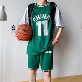 夏季休閒運動男裝籃球帥氣五分袖假兩件短袖t恤短褲嘻哈球衣套裝 深藏blue