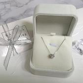WLs925純銀鋯石單鑚項鍊女簡約氣質鎖骨鍊送女友閨蜜生日禮物