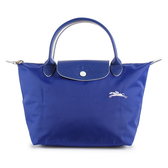 Longchamp 1621 LE PLIAGE 奔馬刺繡短提把小型尼龍摺疊水餃包(鈷藍色)480206-P24