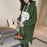 EASON SHOP(GU4286)卡通貼布連帽圓領長版長袖T恤裙連身裙女上衣服素色韓版洋裝寬鬆印花刷毛加絨加厚