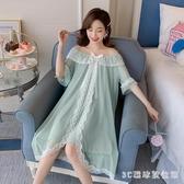 睡裙女夏季棉質短袖連身裙可愛甜美仙女睡衣女夏公主風洋裝2020新款 LR20790『3C環球數位館』