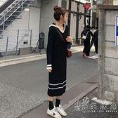 大碼女裝秋冬新款洋氣減齡針織長裙胖mm寬鬆顯瘦慵懶風毛衣洋裝 小時光生活館