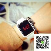 手錶 韓版ulzzang創意新款數字方形表男女潮流學生led電子手錶情侶手錶 歐歐流行館