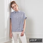 【JEEP】女裝 休閒條紋短袖襯衫-灰