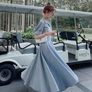 棉麻洋裝 溫柔風襯衫棉麻連身裙女夏裝法式收腰顯瘦氣質女神范及踝桔梗長裙 中秋節