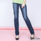 Victoria V字彩鑽中高腰中直筒褲-中深藍-VW210478