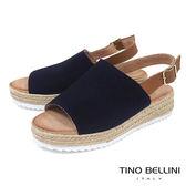 Tino Bellini 西班牙進口簡約寬帶魚口麻編楔型涼鞋_ 深藍 A73023A 歐洲進口款