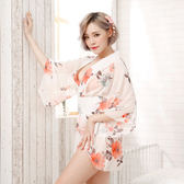 【三件套】性感日本橘白花朵和服 角色扮演制服套装 情趣內衣 F92392