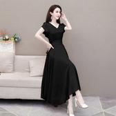 洋裝 短袖 收腰顯瘦氣質雪紡連身裙中長款夏季收腰修身長裙女NA47-A快時尚