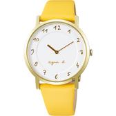 agnes b. 30週年限定紀念手錶-金框x黃/33.8mm VJ20-KCW0Y(BJ5016X1)