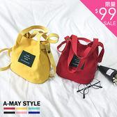 【限時特賣】包包-日系帆布斜背手提水桶包
