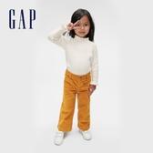 Gap女幼童 保暖燈芯絨假門襟闊腿休閒褲 600395-金色
