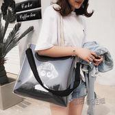 側背包女大包包容量潮百搭正韓文藝帆布包斜挎透明果凍包 『魔法鞋櫃』