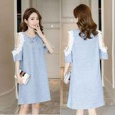 新款大碼韓版短袖圓領系帶條紋蕾絲鉤花孕婦洋裝LJ8510『黑色妹妹』