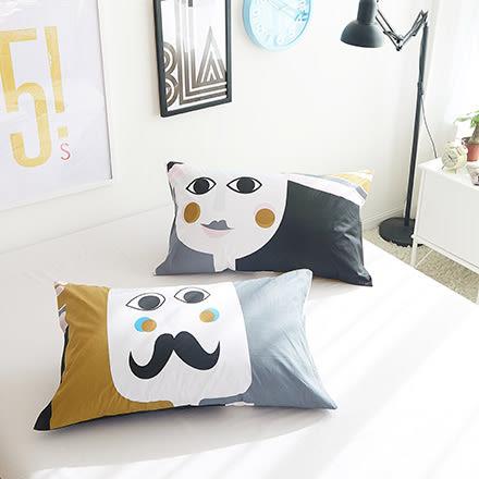100%精梳棉設計款雙枕套《K與Q》