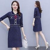 洋裝針織裙內搭裙中大尺碼M-4XL新款氣質寬鬆減齡顯瘦遮肚小香風針織連身裙非A046B-8148.胖胖唯依