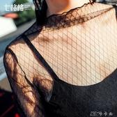 黑色蕾絲上衣秋裝女性感鏤空網紗夏雪紡長袖打底衫 【快速出貨】