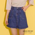 短裙 Space Picnic|雙口袋下破壞單寧牛仔短裙(現貨)【C18031096】