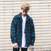 【OBIYUAN】襯衫外套 虛線格紋 翻領 寬鬆 落肩 排釦 外套 共1色【Y0862】