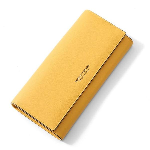 卡包黃色錢包招財手機包2021新款女士長款日韓版簡約時尚搭扣女式 『小淇嚴選』