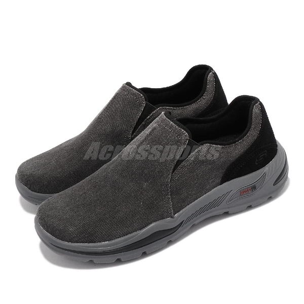 Skechers 健走鞋 Arch Fit Motley Emiel 灰 套入 足供支撐 男鞋 休閒鞋【ACS】 204183BLK