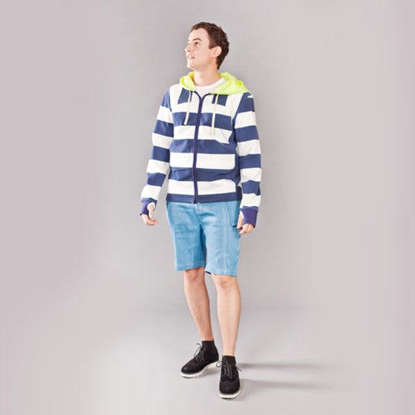 『摩達客』美國LA設計品牌【Suvnir】藍白橫紋連帽外套(11112082007)