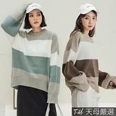 【天母嚴選】韓版慵懶寬鬆拚色圓領毛衣(共二色)