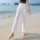 棉麻寬褲 白色亞麻女褲夏季薄款寬鬆棉麻褲垂感寬管褲高腰麻紗長褲子直筒褲-Ballet朵朵