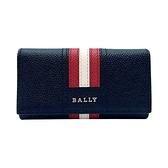 【台中米蘭站】全新品 BALLY Taltos 經典紅白條紋防刮皮革鑰匙包(6218043-黑)