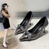 尖頭女鞋2020新款春季細跟單鞋百搭性感涼鞋高跟鞋女方扣仙女風情趣女 LR19395【Sweet家居】