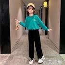女童秋裝套裝2020新款加絨加厚兒童裝網紅中大童洋氣闊腿褲兩件套 小艾新品