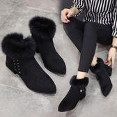 歐美短靴秋冬新款尖頭粗跟馬丁靴女士黑色復古女靴時尚毛毛邊 雲雨尚品