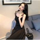 VK精品服飾 韓國風時尚排釦優雅長裙吊帶無袖洋裝