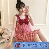 中大尺碼睡衣女夏季棉質性感吊帶格子裙薄款夏天韓版可愛學生公主風寬鬆 3C數位百貨