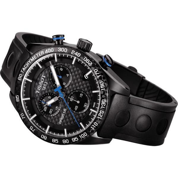 TISSOT 天梭 PRS516 三眼計時手錶-黑/42mm T1004173720100