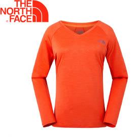【The North Face 女款 FlashDry長袖排汗衣《橘》】2UXYWVL/吸濕排汗/彈力快乾/長袖衣★滿額送