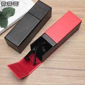 手工眼鏡盒紅黑色方形PU皮質墨鏡防摔抗壓便攜眼睛盒
