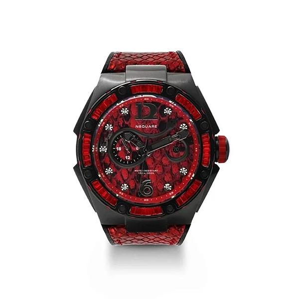 【NSQUARE】SNAKE QUEEN系列施華晶鑽時尚機械橡膠腕錶-烈焰紅/L0471-N11.6/台灣總代理享兩年保固