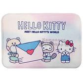 〔小禮堂〕Hello Kitty 腳踏墊《粉藍.站姿.信封》65x45cm.止滑海棉軟墊 4713909-23010