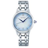 【台南 時代鐘錶 SEIKO】精工 140周年 SRZ539P1 羅馬字 藍寶石鏡面 鋼錶帶女錶 7N01-0KV0S 藍 29.5mm