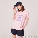 【GIORDANO】女裝V領寬版印花短袖T恤- 72 女郎粉