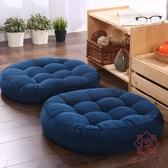 坐墊亞麻蒲團圓形布藝地板上打坐榻榻米坐墊【櫻田川島】