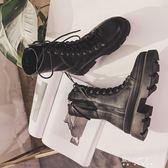 英倫風馬丁靴女粗跟中靴秋冬新款中筒靴加絨機車靴厚底軍靴潮    東川崎町    YYS