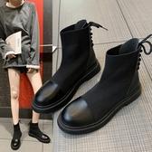 短靴 馬丁靴女英倫風新款百搭短靴秋冬加絨ins網紅瘦瘦鞋潮襪靴子 (快速出貨)